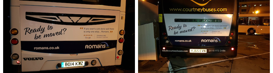 rear bus advertising campaign romans estate agents
