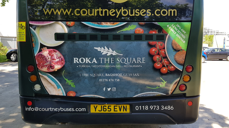 Rear Bus Advert for Roka The Square